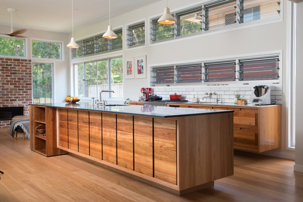Wooden kitchen and cabinetry in a Ballina house